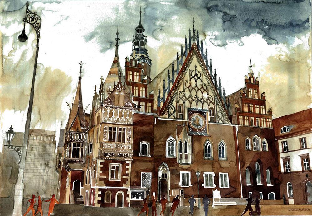 Акварельные городские пейзажи Майи Вройска (Maja Wrońska).