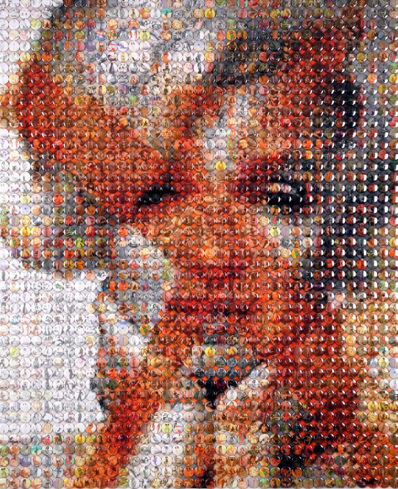Портреты знаменитостей из тысячи мелких объектов.