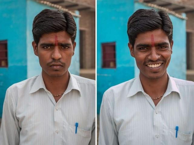 Как улыбка меняет лицо незнакомца.