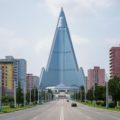 Ryugyong Hotel, probably the most emblematic building of Pyongyang, is still undergoing construction and not open to the public. Towering over the city at 330 meters high, its infrastructure is made entirely of concrete which somehow gives it this opaque, solid futurist look, like a very heavy spaceship that will never take-off.