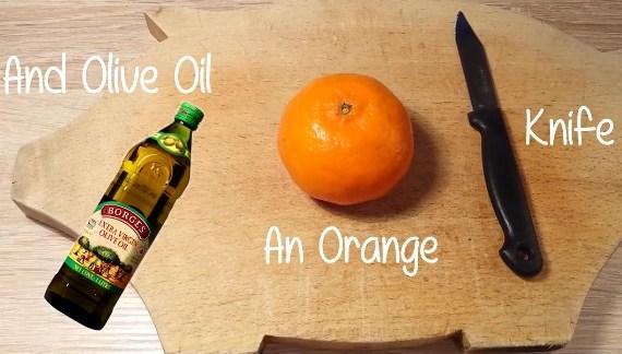 Как сделать свечу из апельсина и масла