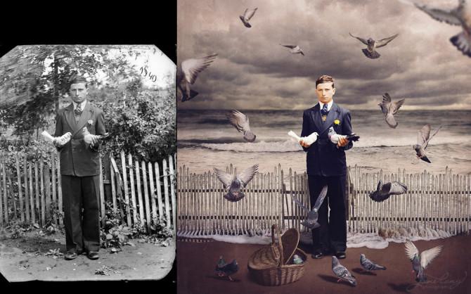 Фотограф превращает винтажные фотографии в сюрреалистичные произведения искусства