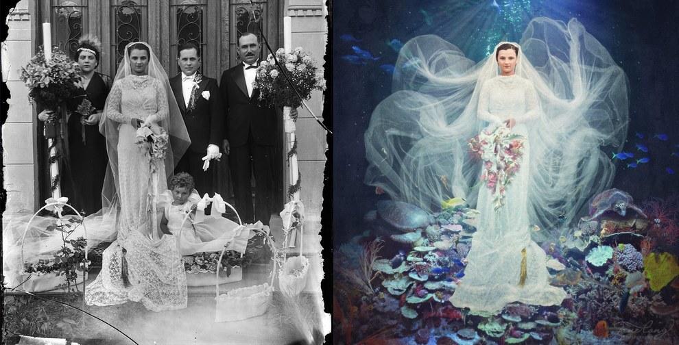 Превращение винтажные фотографии в сюрреалистичные произведения искусства