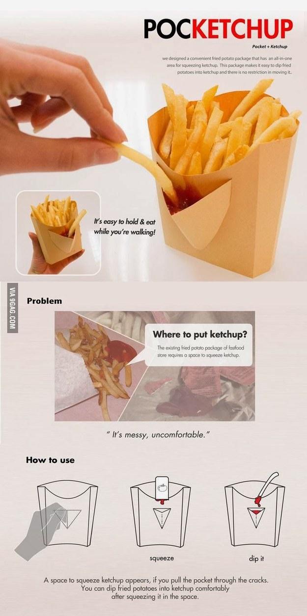 Формочка для картофеля фри со специальным кармашком для кетчупа