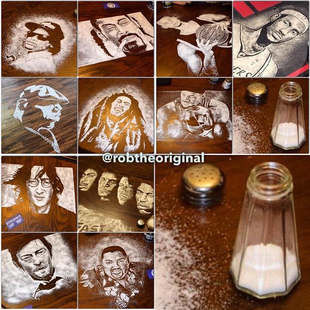 Художник создаёт портреты из соли