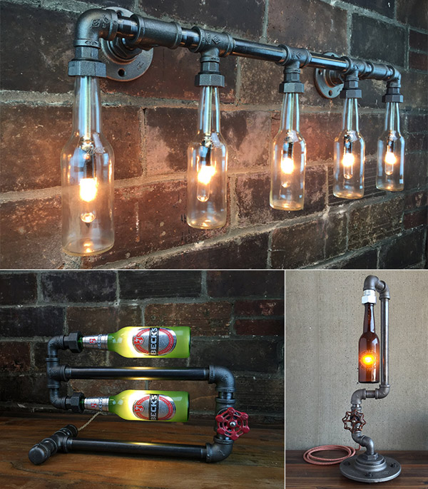 Industrial Beer Bottle Lamp