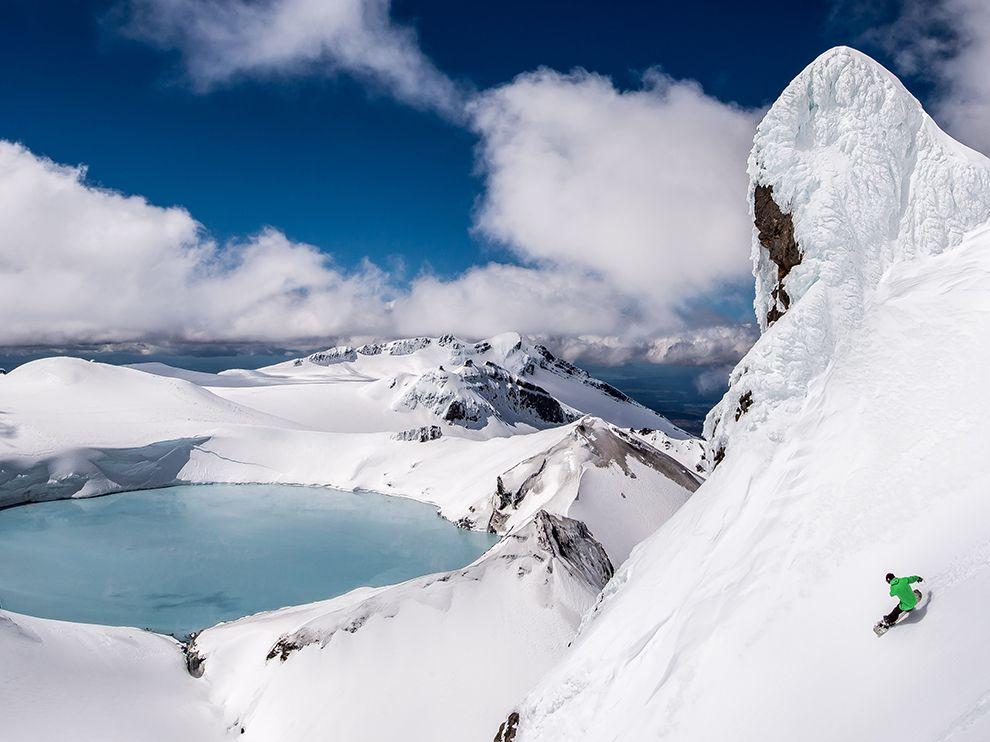 Сноубординг на гореРуапеху. Новая Зеландия