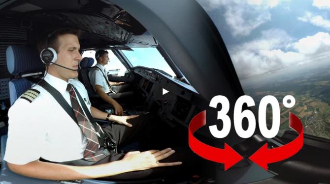 Внутри кабины Аэробуса A320: 360-градусное интерактивное видео