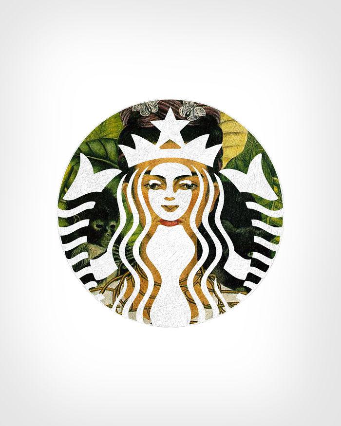 Starbucks + «Автопортрет с терновым ожерельем»,Фрида Кало