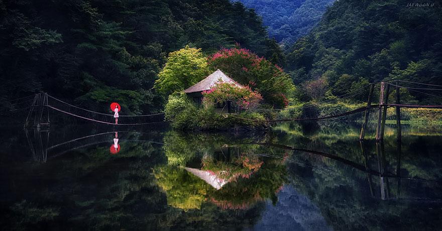 отражения пейзажей Южной Кореи в реках и озёрах