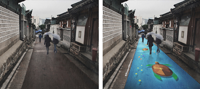 Картины на улицах Сеула, которые появляются только во время дождя