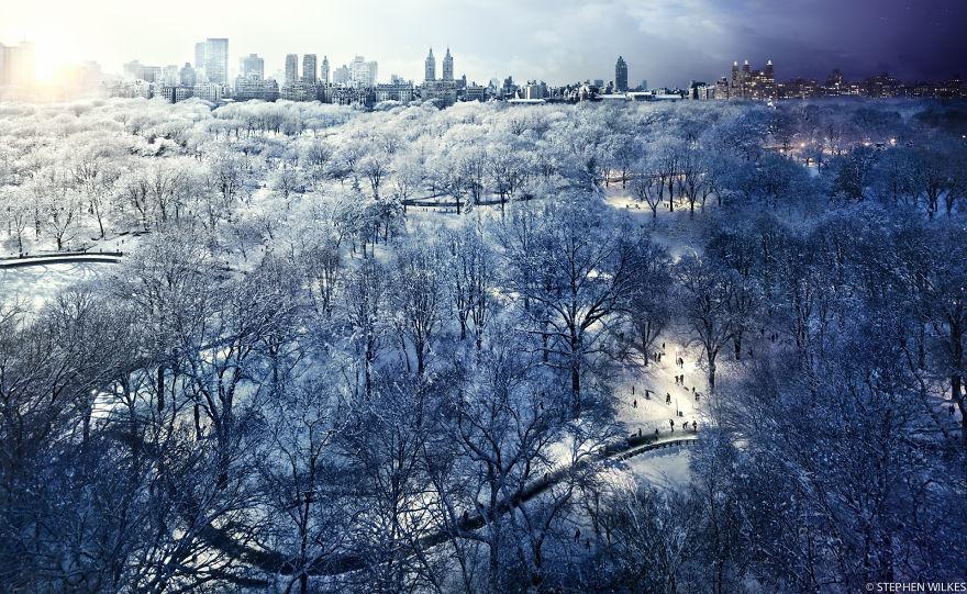 Снежный Центральный парк, Нью-Йорк