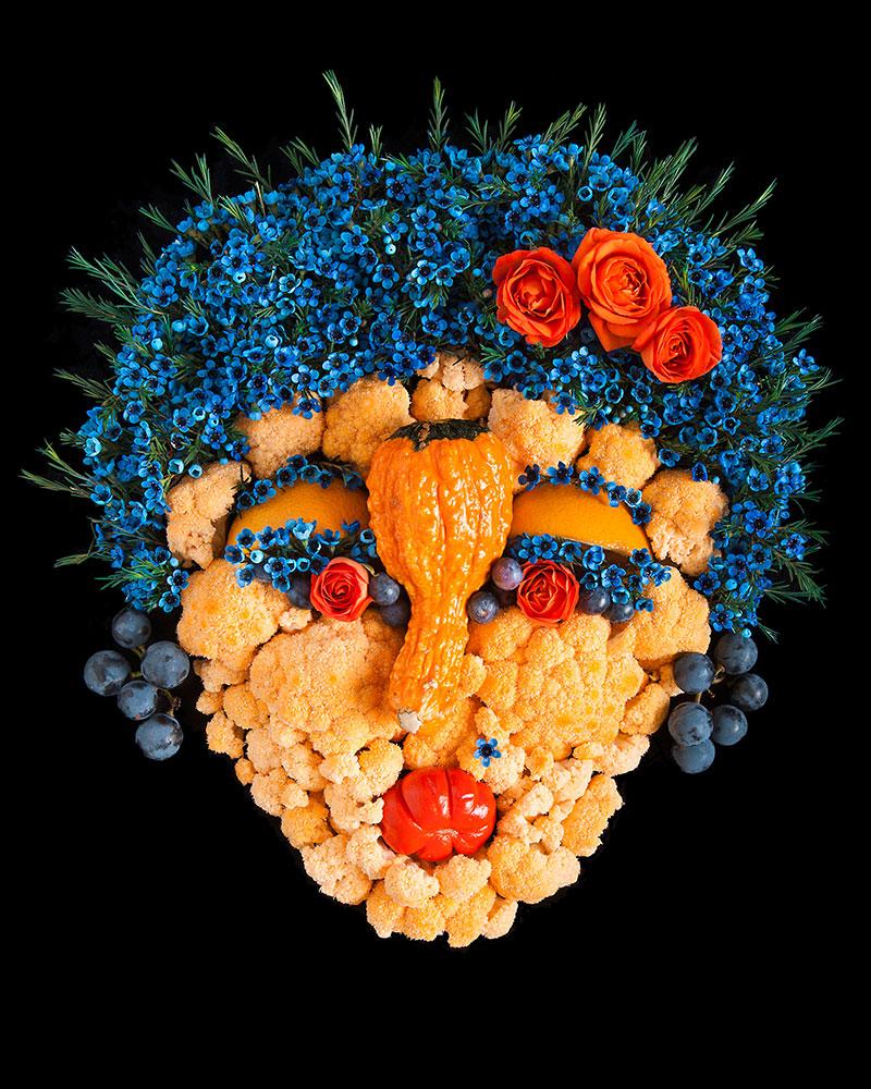 Лица из фруктов и овощей