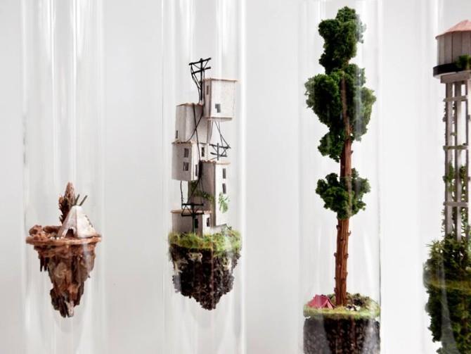 Вертикальные жилища внутри стеклянных пробирок от Розы де Йонг