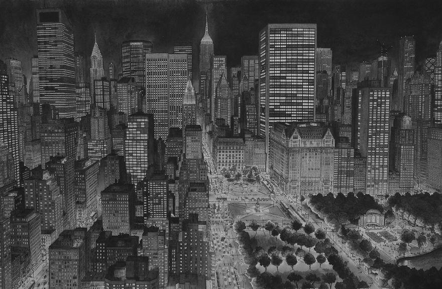 Нарисованный по памяти Нью-Йорк в ночное время