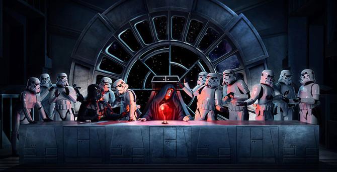 Тайная вечеря с использованием персонажей из фильма «Звёздные войны»
