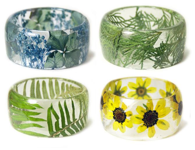 Браслеты ручной работы c цветами и растениями от Сары Смит