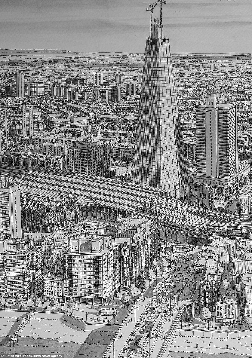 Нарисованный осколок башни на берегу Темзы