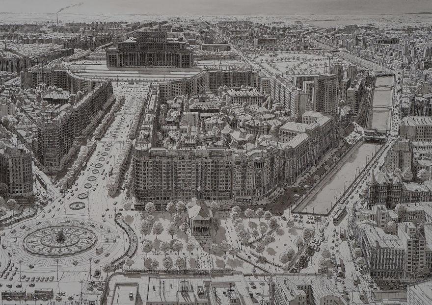Нарисованный по памяти Бухарест, Румыния