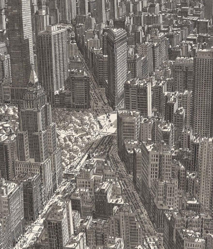 Нарисованные по памяти Бродвей и 5-я Авеню наМанхэттене