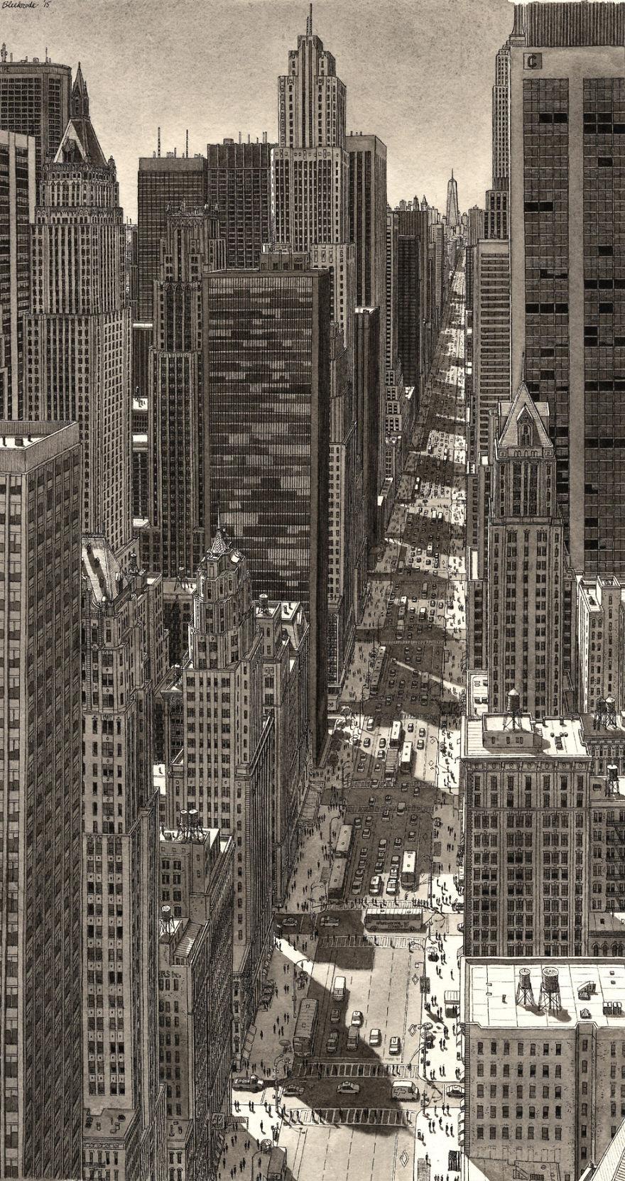 Нарисованный по памяти Нью-Йорк