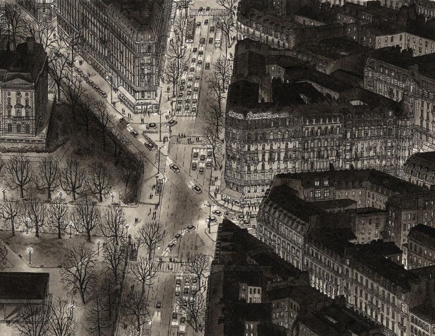 Нарисованный по памяти Парижский бульвар ночью