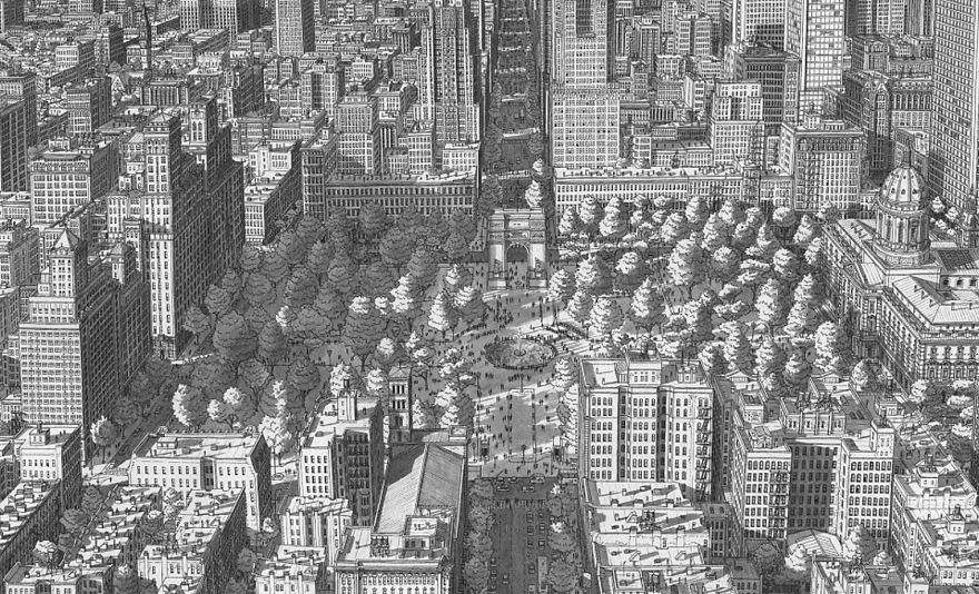 Нарисованный по памяти Вашингтон-сквер в Нью-Йорке