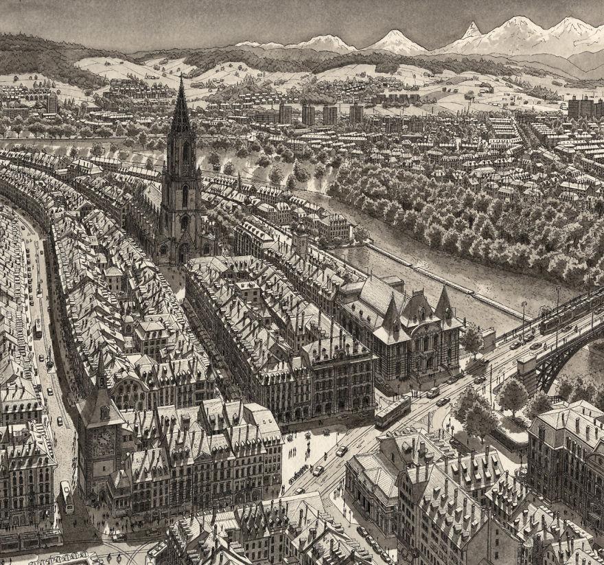 Нарисованный по памяти Берн, Швейцария