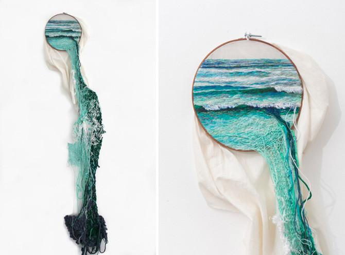С помощью вышивки и пряжи художница создаёт удивительные пейзажи и растения