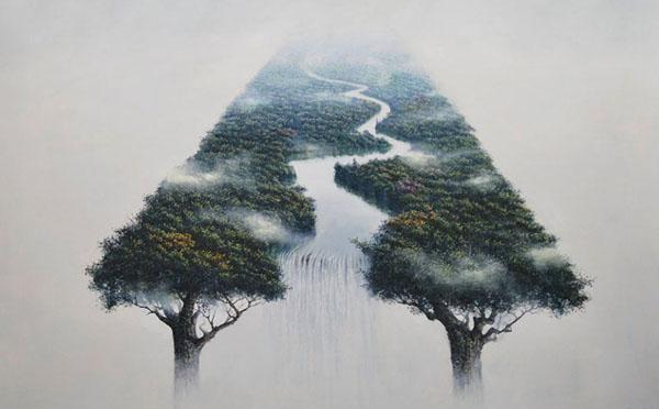 Сюрреалистические пейзажи в стиле Шань-шуй и Суми-э от Рубена Фуэнтеса