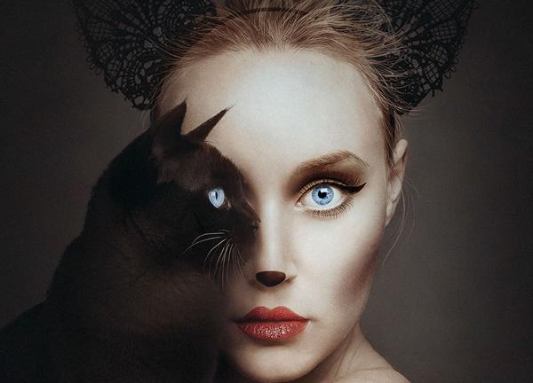 Поразительные автопортреты с заменой одного глаза на глаз животного