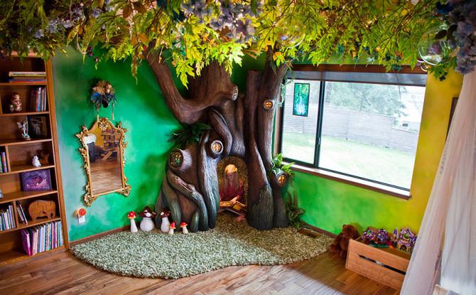 Папа потратил 18 месяцев, трансформируя спальню дочери в сказочный дом на дереве