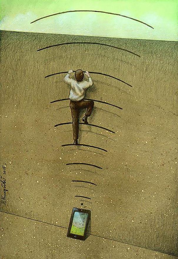 Сатирические иллюстрации, которые показывают нашу зависимость от технологии