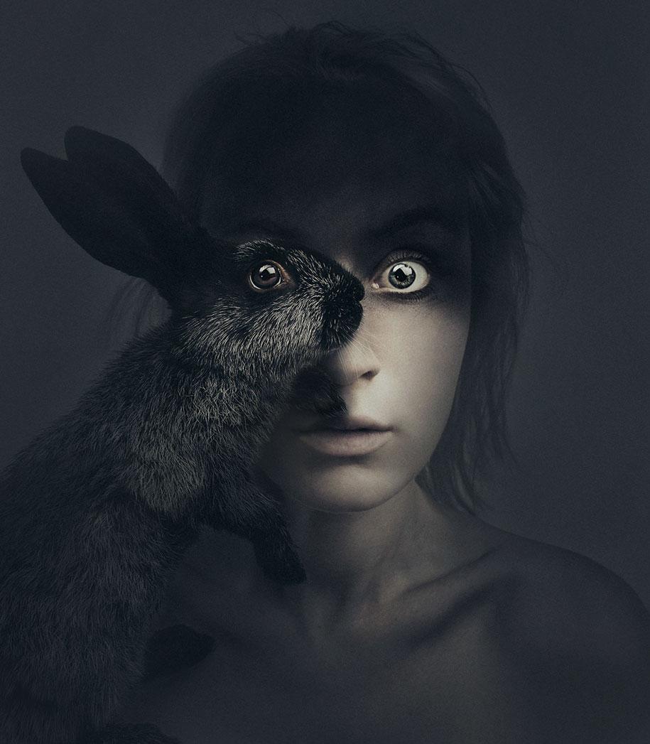 Автопортреты с животными от Флоры Борси