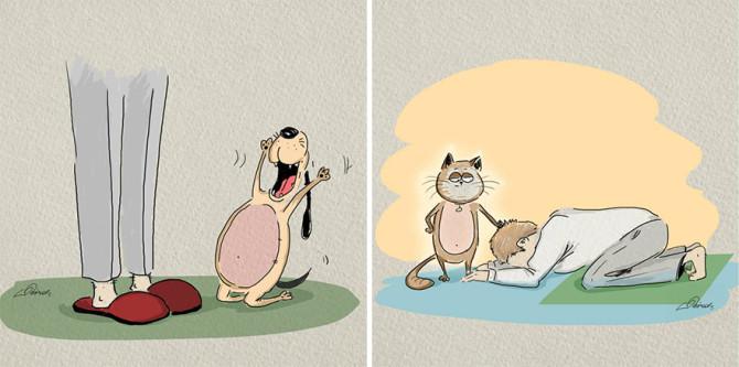 Кошки против собак: разница между ними в иллюстрациях от Bird Born
