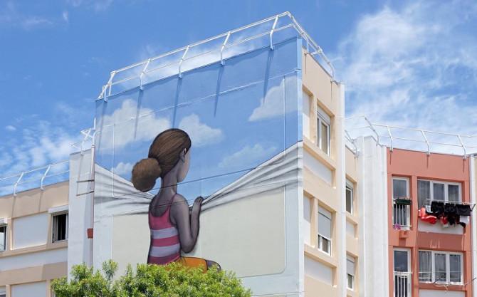 Красочный стрит-арт с элементами островной жизни