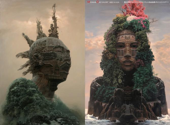Портреты китайских рок-звёзд в виде монументальных храмов