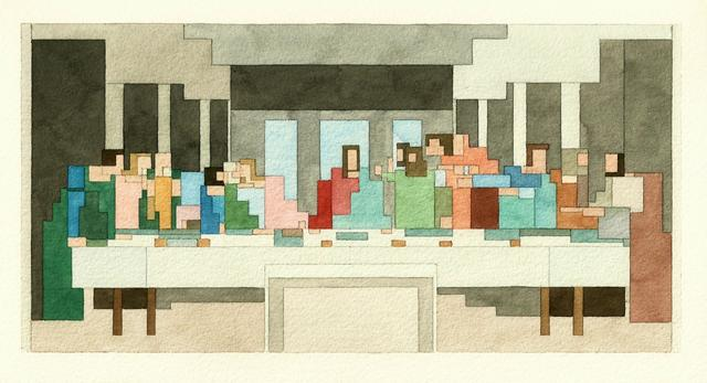 8-битная акварельная живопись, вдохновлённая известными произведениями и поп-культурой