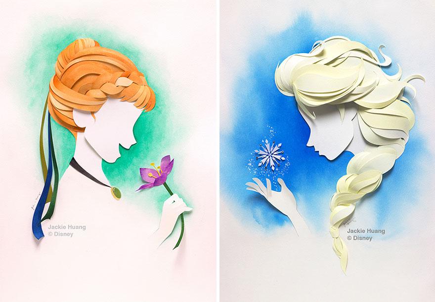 Диснеевские персонажи из бумаги от Джеки Хуан