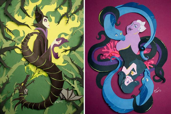 Оригинальные диснеевские персонажи из бумаги от Джеки Хуан