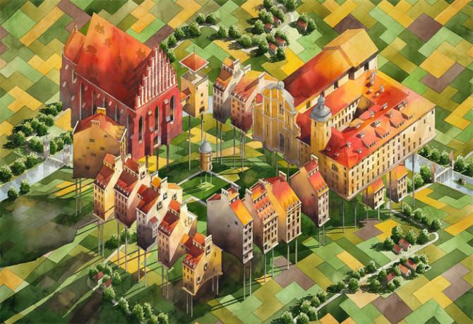 Акварельная архитектура сказочной Варшавы от Титуса Бжозовского