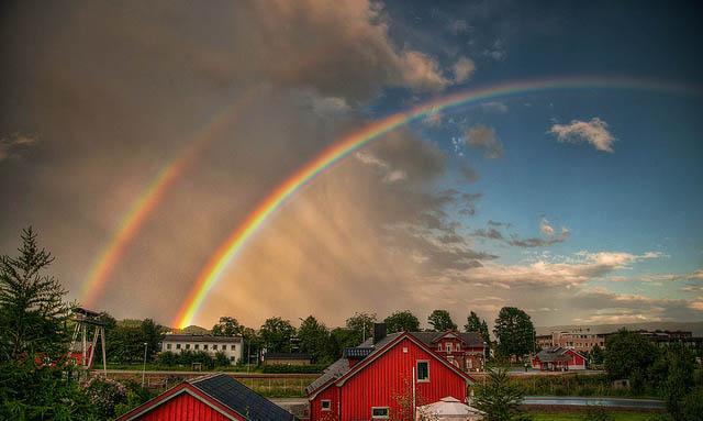 Фантастические фотографии двойной радуги