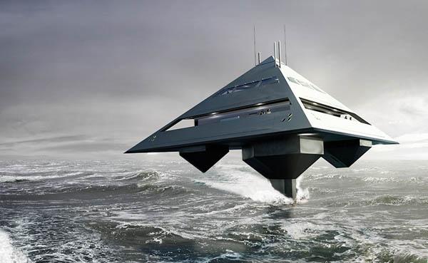 Яхта в виде тетраэдра будто левитирует над поверхностью воды