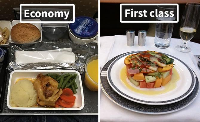 Как отличается еда пассажиров эконом-класса от бизнес-класса у разных авиакомпаний