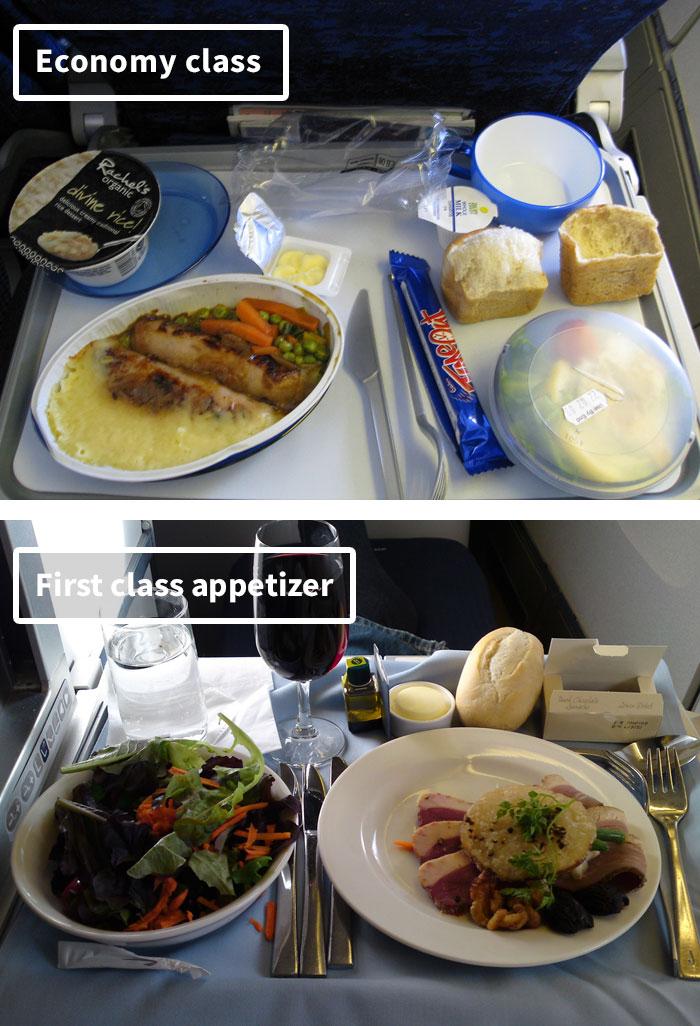 Отличие еды эконом-класса от бизнес-класса на борту разных авиакомпаний.