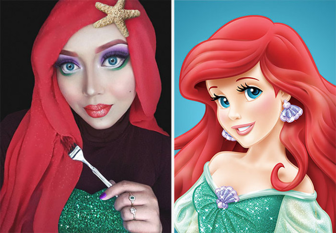 Девушка с помощью хиджаба превращается в диснеевских принцесс