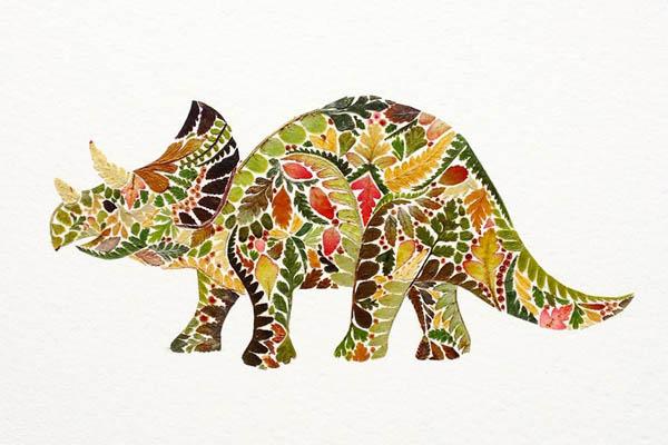 Иллюстрации из прессованного папоротника, водорослей и сусального золота от Хелен Апорнсири