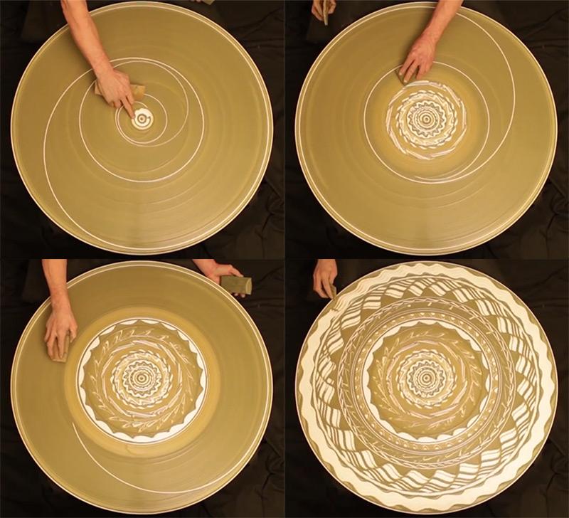 Гипнотические узоры мокрой глиной на гончарном круге