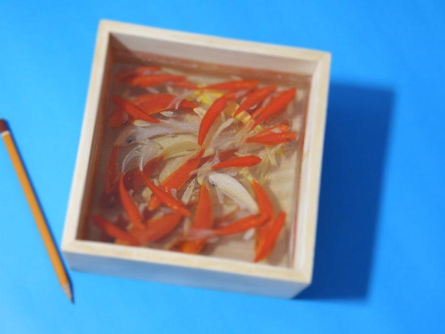 3D-обитатели морей в слоях смолы