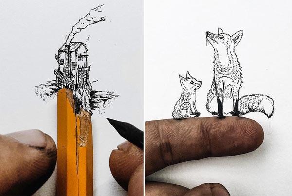 Крошечные рисунки чернилами от Кристиана Уотсона